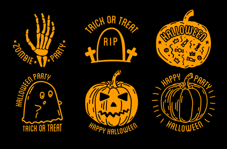 tumbas: Set of Halloween stylish with traditional pumpkins, graves and skulls. Black vector illustration for card, invitation and banner. Isolated on white background.