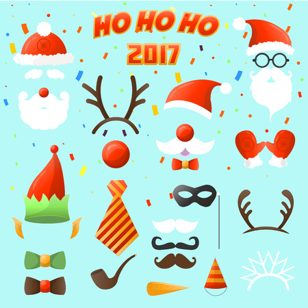 props: Set of Christmas party vector elements. ostume decoration mask and mustache, Santa Claus beard and hat elf, deer antlers and eyeglasses xmas and New Year sticker. Illustration isolated on white background