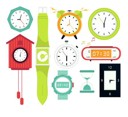 cuckoo clock: Types of alarms clocks, digital watch and timer, stopwatch and hourglass. Symbol of time. Flat style illustrations isolated on white.