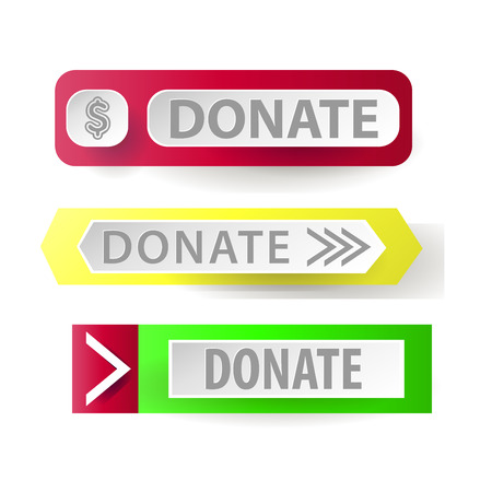 button icons: Donate button. Web button for charity. icons donation gift charity, money giving. Modern UI button isolated on white background. Illustration