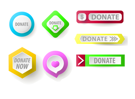 charity collection: Donate button collection. Set of web buttons for charity, donate. icons donation gift charity, money giving. Modern UI donate buttons isolated on white background.