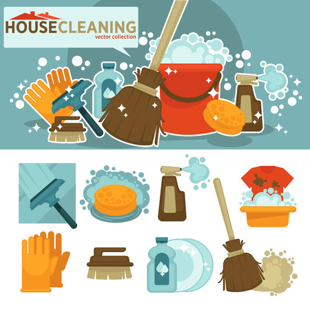 cleanup: Set of cleaning service symbols. Equipment for cleanup and housework sponge, bucket, broom, mop, brush, detergent product, glass cleaner. Flat vector illustration