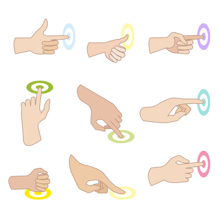 nudge: Set of hand gestures with showing direction of movement of fingers. Hand signs press, push, sliding, click, touch. Flat icons. Vector illustration isolated on white background.