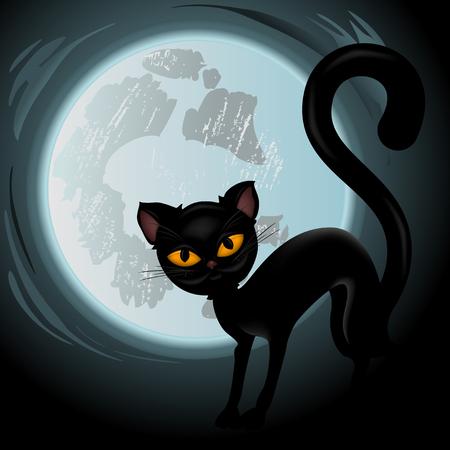 halloween black cat: Halloween black cat vector Illustration isolated on white background