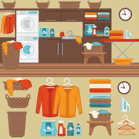 washer machine: Laundry room with washer illustration. Flat vector equipment and elements basket and laundry machine, soap and detergent, clothes and iron, hanger and powder for wash. Illustration