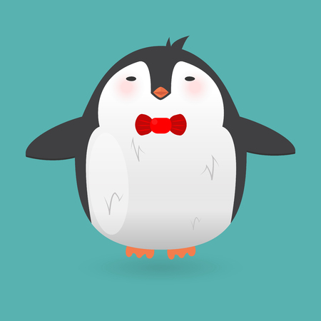 winter vector: Cartoon penguin character. Funny bird. Vector winter illustration isolated on white background