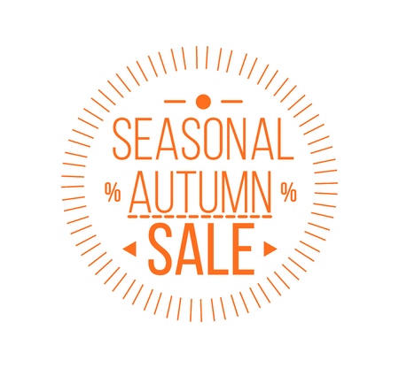 Autumn sale. Special offer badge or label and ribbon, element with leaves, banner. Vector Illustration.