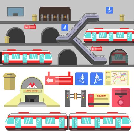 Metro rail station illustration. Vector subway flat icons. Set of underground symbols train, map, escalator, navigation signs, turnstile. Urban public transport. Isolated on white background.