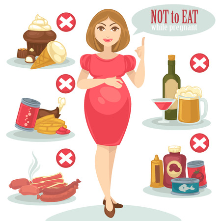 Set of forbidden food for pregnant woman and her baby. Concept maternity and pregnancy illustration. Unhealthy, junk, fast food snack, alcohol, cake and ice-cream. Vector illustration