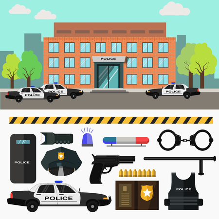 police station: City police station. Vector illustration with police department building and policeman, patrol car and officer, badge and handcuffs. Flat style. Isolated on white background Illustration