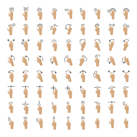 swipe: Set of hand gestures for touch screen devices. Action fingers hold, drag, arrow, rotate. Icons with pointers for mobile, smart-phone, tablet and pad. Vector illustration isolated on white Illustration