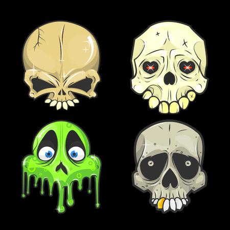 Set of halloween skulls. halloween Symbol of day of the dead or halloween. Spooky halloween skeleton head. Halloween Flat design. Halloween Isolated vector illustrations Illustration