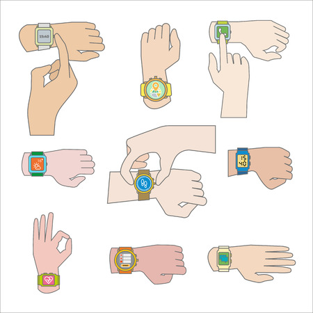 flick: Set of gestures for watch. Tap fingers, press buttons push and sliding, click and touch . Flat icons. Vector illustration isolated on white background.