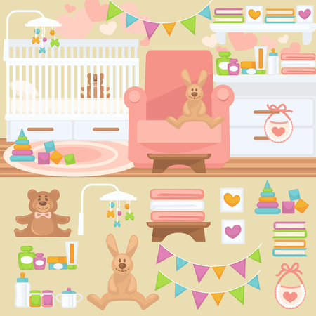 bedroom bed: Nursery and childhood bedroom interior. Baby room with furniture bed and toy, teddy bear and rabbit. Flat style vector illustration isolated on white background
