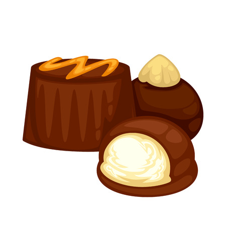 chocolate mousse: Delicious sweet dessert. Chocolate candy. Vector cartoon Illustration isolated.