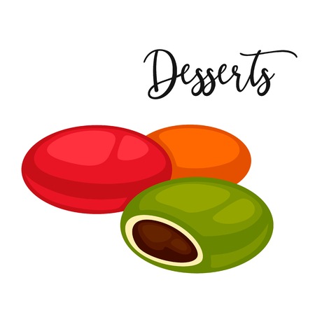 Delicious sweet dessert. Vector cartoon Illustration isolated.
