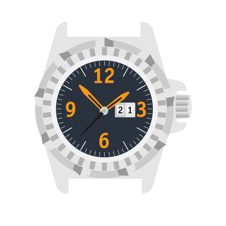 Watch Stylish accessory for men. Wristwatch. time symbol. watch on white background. Flat style illustration. Illustration
