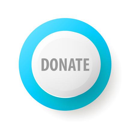 botón de donar. Botón del Web por caridad. Iconos de la donación de regalos de caridad, que da el dinero. Botón moderno interfaz de usuario aislado sobre fondo blanco. Ilustración de vector