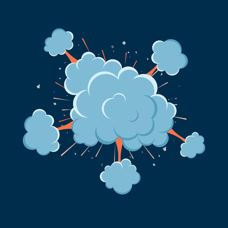 vector bomb: Cartoon vector bomb explosion with smoke. Cartoon style. Effect boom, explode flash, bomb comic. Blast with fire and cloud. Illustration of burst isolated.