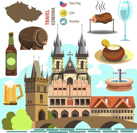 Simbolo della cultura della Repubblica Ceca impostato. Europe Travel direzione di Praga. icone. Illustrazione isolata piatta