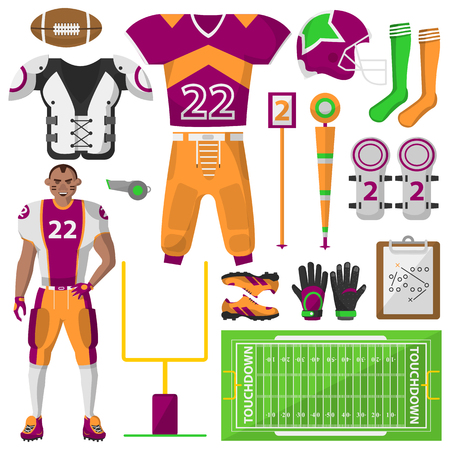 arbitros: Iconos de fútbol. Fútbol, ??equipos deportivos y uniformes para el entrenamiento y la competición. El equipo utilizado en el deporte. ilustración sobre fondo blanco.