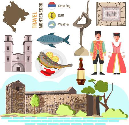 Montenegro culture symbol set. Europe Travel Montenegro direction. icons. Flat isolated illustration