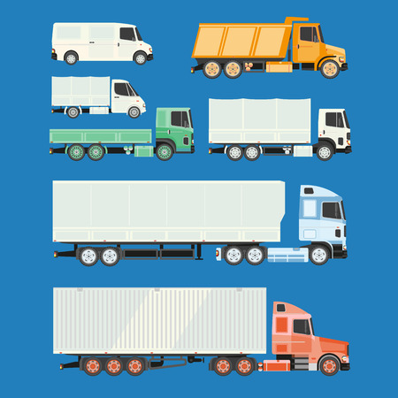 trailers: Trucks and trailers. Delivery logistic and shipping cargo trucks and semi-trucks. For infographics or design on a white background.