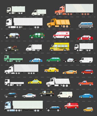 交通: 渋滞道路、道路交通機関の概念図、ベクトルの背景に