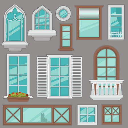 casement: windows collection of various types. For interior and exterior design use. Flat style.