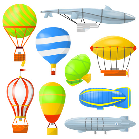 Set of air balloons with basket and airships. Retro air transport for travel and adventures in clouds. Flat icons with aerostats and dirigibles. illustration isolated on white background. Illustration