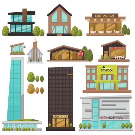 Platte set van moderne stedelijke architectuur. Gebouw en huis in de stad: voor bedrijven en kantoren, hotel, winkel en bank, ziekenhuis en winkel, school en overheid, restaurant en café, wolkenkrabber. Vector Illustratie