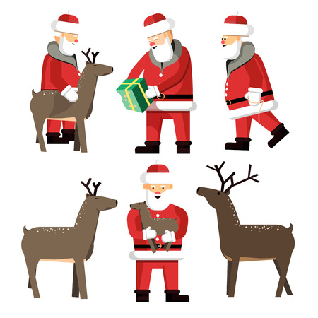 Santa Clauses set for christmas.  Illustration isolated