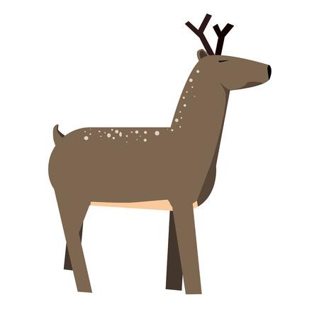 huge antlers: Cute cartoon deer. Illustration isolated on background Illustration