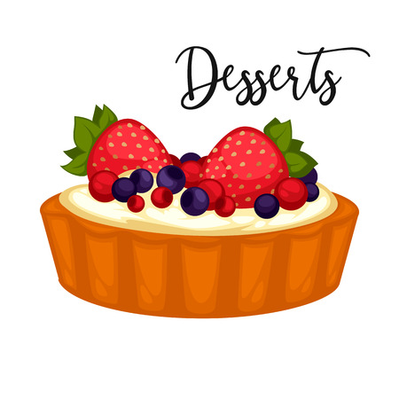chocolate mousse: Delicious sweet dessert with berry. cartoon Illustration isolated.