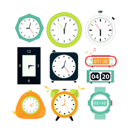 cuckoo: Types of alarms clocks, digital watch and timer, stopwatch and hourglass. Symbol of time. Flat style illustrations isolated on white.