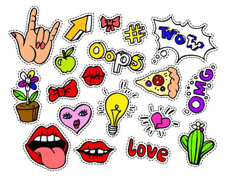 Fashion modern doodle cartoon patch badges or stickers with speech bubbles, stars, heart, lips and other elements. Set of cartoon pins in 80s 90s pop art. Illustration.