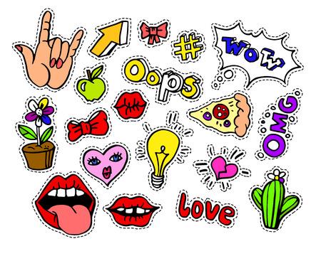 moderni distintivi di patch Doodle cartoon moda o adesivi con i fumetti, le stelle, il cuore, le labbra e altri elementi. Set di perni cartoni animati in 80s 90s pop art. Illustrazione.