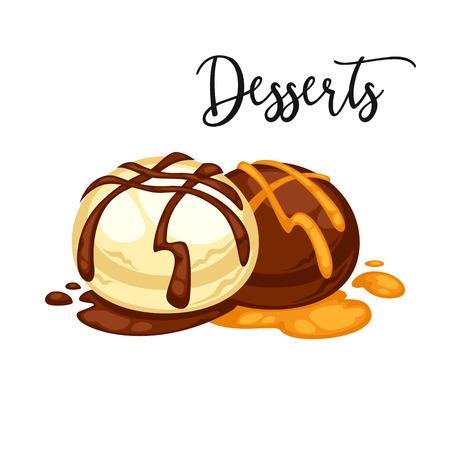 Delicious sweet dessert. Chocolate candy.  cartoon Illustration isolated. Illustration