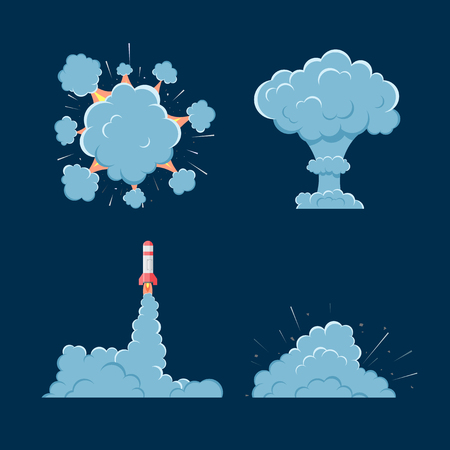 clash: Cartoon  bomb explosion with smoke. Cartoon style. Effect boom, explode flash, bomb comic. Blast with fire and cloud. Illustration of burst isolated.