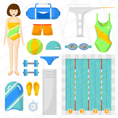 sports equipment: Set of flat swimming icons. Sports equipment for swim and jumping: pool with water and ball, towel, bag and swimmer, board, swimwear and watches. isolated illustration Illustration