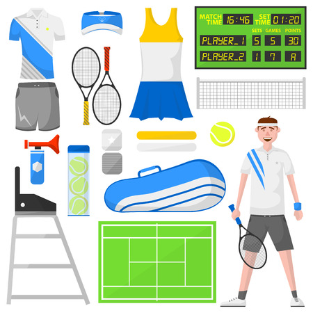 sports activity: Set of cartoon tennis icons. Sports equipment and wear: ball and racket, field, court and player, bag and clothes: shirt and skirt. isolated illustration in flat style. Activity and recreation concept. Illustration