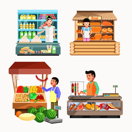 Set of sellers at the counter and stall. Collection shops in flat style. Kiosk with vegetables, bread, meat and milk products. Grocery stores illustration