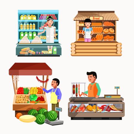 Zestaw sprzedawców w kasie i stoisku. Sklepy kolekcjonerskie w stylu płaskim. Kiosk z warzywami, chlebem, mięsem i produktami mleczarskimi. Ilustracja sklep spożywczy