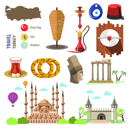 bagels: Set of country Turkey culture and traditional symbols. Collection icons: mosque and tower, hookah, tea, doner kebab and bagels. illustrations with IstanbulTurkish famous landmarks.