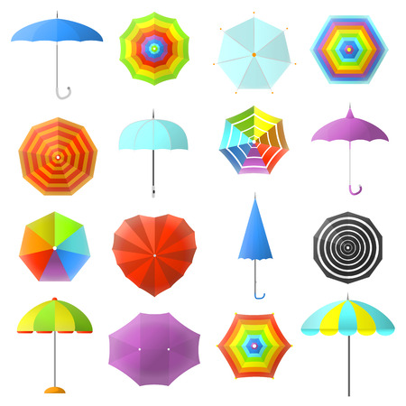 sunshade: Open and closed colorful umbrellas set: protection for rain weather, parasol. Icons of seasonal fashion accessory. Flat design illustration isolated on white background.