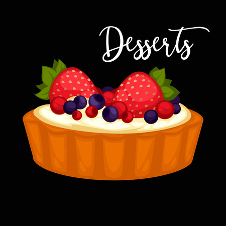 Delicious sweet dessert with berry. Vector cartoon Illustration isolated.