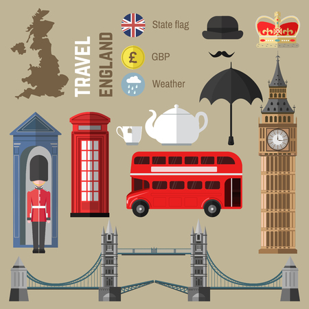telephone box: Set of London city symbols. EnglandUnited Kingdom vector illustrations. Travel icons: red bus and Tower Bridge, Big Ben and Queen, British flag and tea, telephone box and umbrella, map. Flat design.