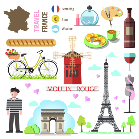triumphal arch: Set of Paris french symbols and landmarks. France vector illustrations. Travel icons Triumphal Arch and Eiffel Tower, wine bottle and cheese, perfume and fashion, croissant and coffee, flag and map.