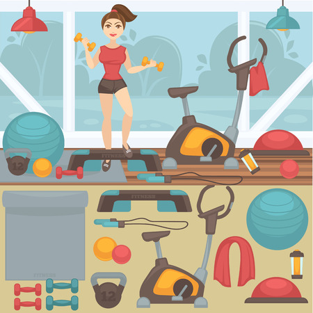 Fitness equipment and gym interior. Icon set of sport, workout: woman and ball, dumbbell and step, exercise bike and weight. Vector illustration isolated