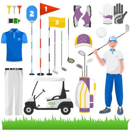 sports equipment: Set of game for golf. Vector icons of sports equipment: ball, cart and bag, grass and car, stick and glove, badge and aristocracy. Club for activity recreation and hobby.